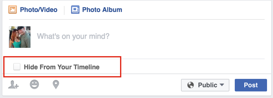Facebook Hide From Timeline Button