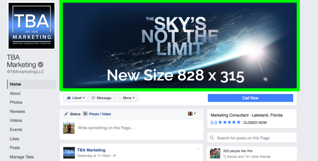 Facebook Cover Photo Resolution ~ New facebook changes for business pages tba marketing llc